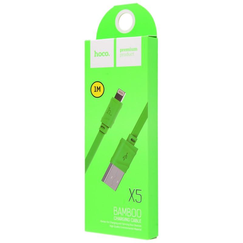 Usb cable Hoco X5 Bamboo Lightning 1m Green