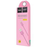 USB кабель Hoco X6 Khaki lightning 1m Pink