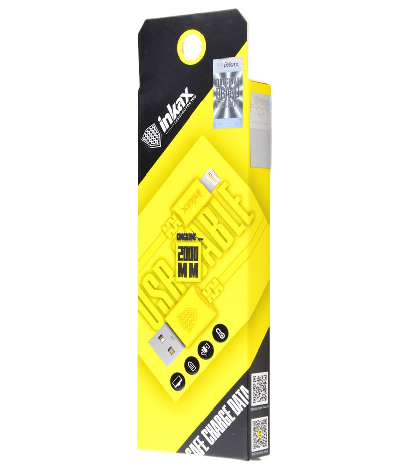USB кабель Inkax CK-08 Lightning 2m Yellow