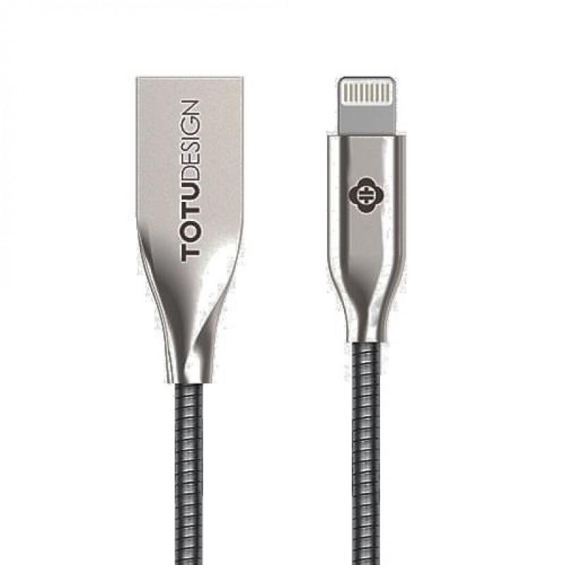 USB кабель Totu Steel Rope Lightning 1m Silver