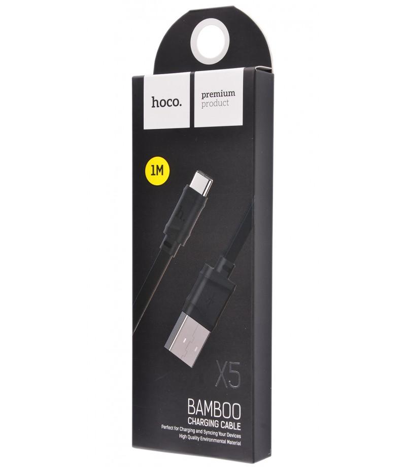 USB кабель Hoco X5 Bamboo Type-C 1.0m Black