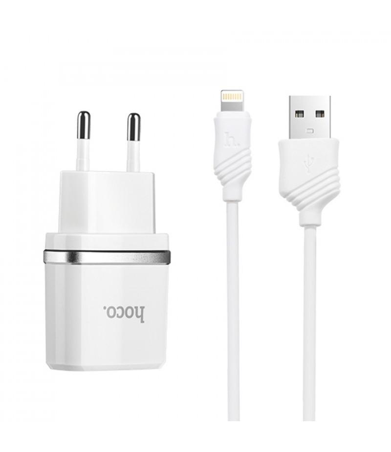 Мережевий зарядний пристрій Hoco C12 2.4A + lightning кабель