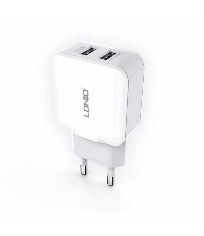 Мережевий зарядний пристрій LDNIO A2202 2.4A