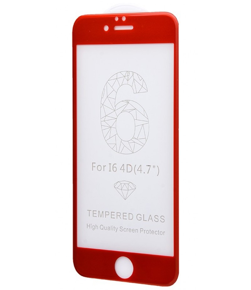 Захисне 4D скло Full Screen 360 для iPhone 6 Red